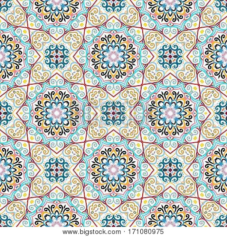 Flower Seamless Pattern. Colorful weave stylized floral background. Blue yellow pink flourish ornament vector. Intricate luxury decoration. Furniture fabric print, wallpaper. Interior design element.