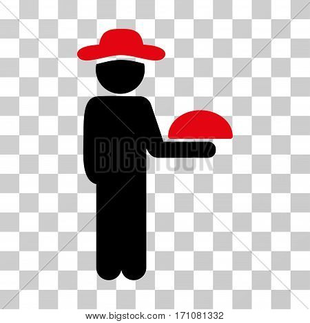 Gentleman Waiter icon. Vector illustration style is flat iconic bicolor symbol intensive red and black colors transparent background. Designed for web and software interfaces.