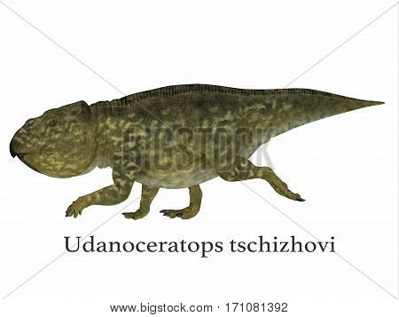 Udanoceratops Dinosaur with Font 3d illustration - Udanoceratops was a Ceratopsian herbivorous dinosaur that lived in Mongolia in the Cretaceous Period.