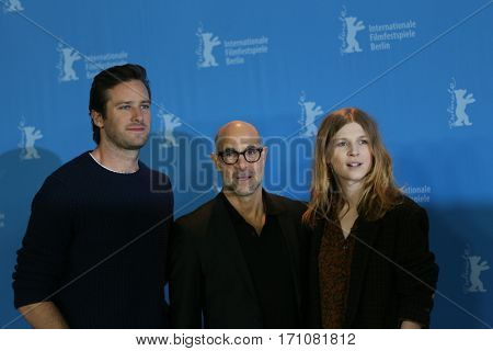 Armie Hammer, Stanley Tucci and Clemence Poesy attend the 'Final Portrait' photo call during the 67th Berlinale  Film Festival Berlin at Grand Hyatt Hotel on February 11, 2017 in Berlin, Germany.