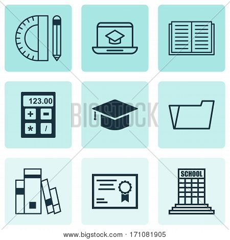 Set Of 9 School Icons. Includes Certificate, Library, Document Case And Other Symbols. Beautiful Design Elements.