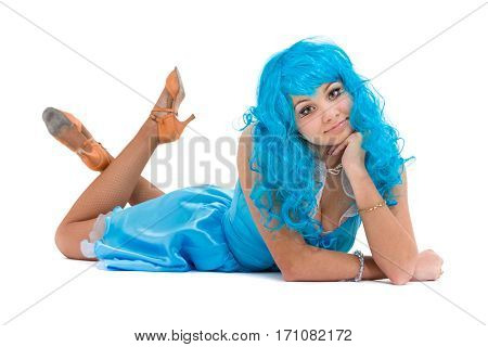 Carnival dancer woman lying, isolated on white background in full length.
