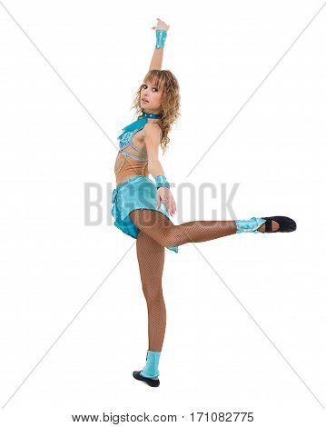 portrait of cute woman gymnast, isolated on white in full length