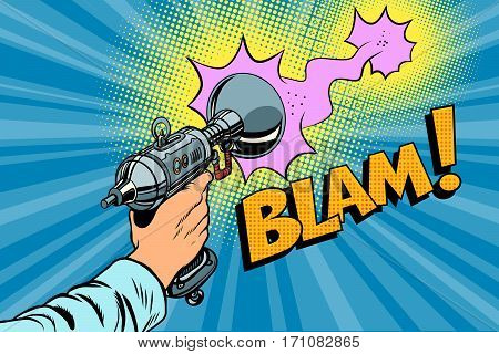 blam Science fiction shot of a Blaster comic cloud. Vintage comics pop art retro color illustration