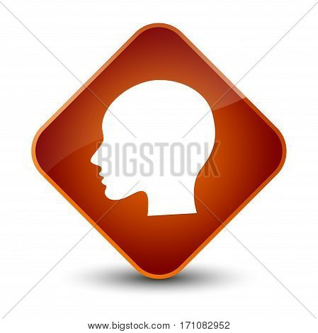 Head Woman Face Icon Special Brown Diamond Button
