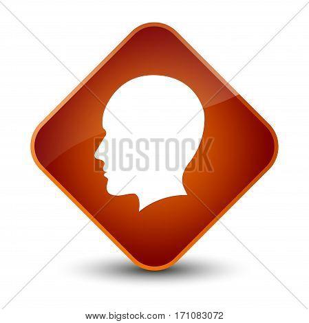 Head Men Face Icon Special Brown Diamond Button