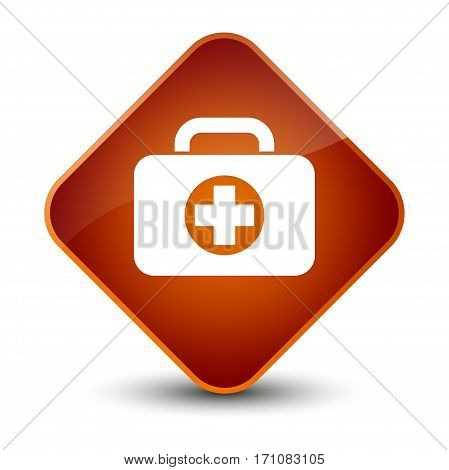 First Aid Kit Bag Icon Special Brown Diamond Button