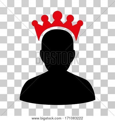 King icon. Vector illustration style is flat iconic bicolor symbol intensive red and black colors transparent background. Designed for web and software interfaces.