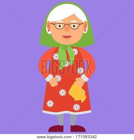 Kind Grandmother. Vector Illustration. Cartoon. Character. Flat Design
