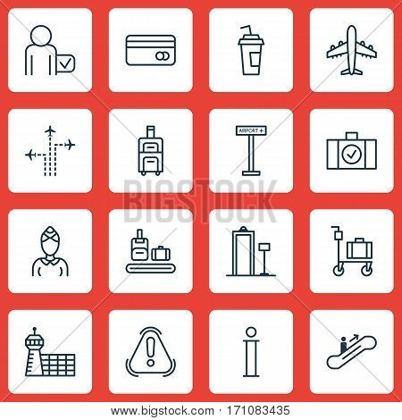 Set Of 16 Transportation Icons. Includes Airplane Information, Globetrotter, Information And Other Symbols. Beautiful Design Elements.