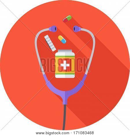 Medicine Round Flat Icon. Pills And Phonendoscope. Vector Illustration