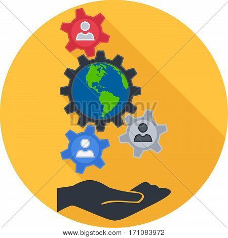 Sociology Round Flat Icon. Vector Illustration. Flat Design