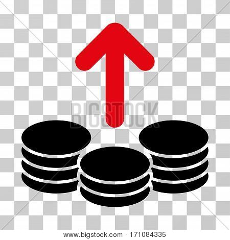 Payout Coins icon. Vector illustration style is flat iconic bicolor symbol intensive red and black colors transparent background. Designed for web and software interfaces.