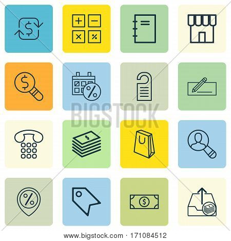 Set Of 16 E-Commerce Icons. Includes Price, Spiral Notebook, Spectator And Other Symbols. Beautiful Design Elements.