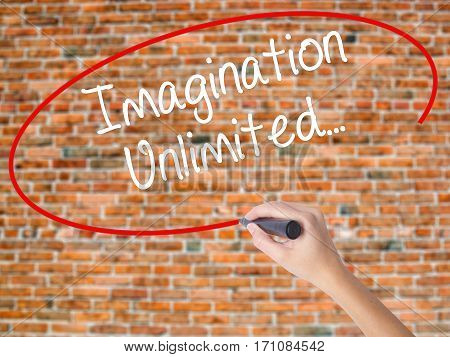 Woman Hand Writing Imagination Unlimited