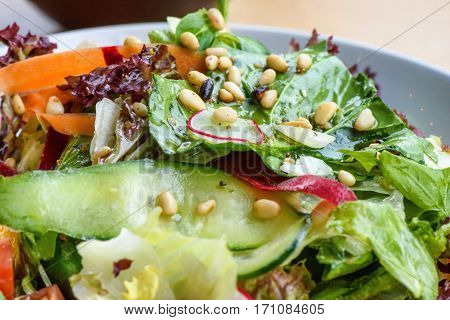 Close up photo of green healthy salad with ruccola, tomatoes, cucumbers, beet and seeds