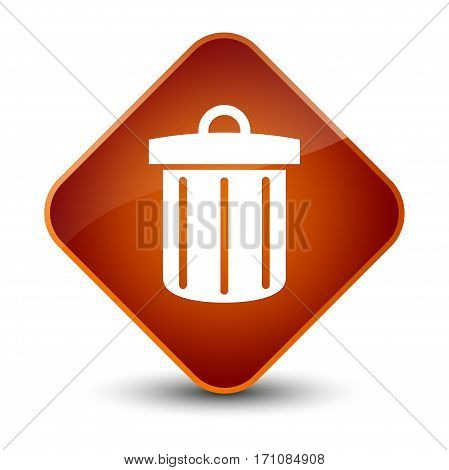 Recycle Bin Icon Special Brown Diamond Button