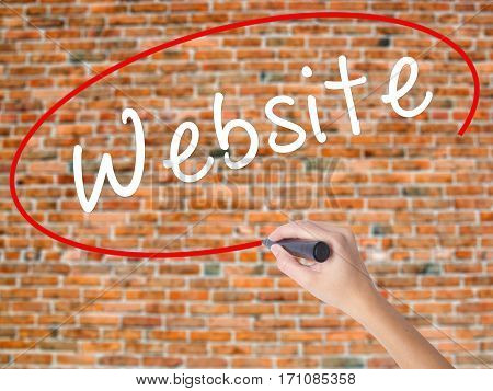 Woman Hand Writing Website With Black Marker On Visual Screen