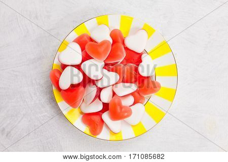 Tasty Delicious Red Mermaids In Form Of Heart On Beautiful Plate
