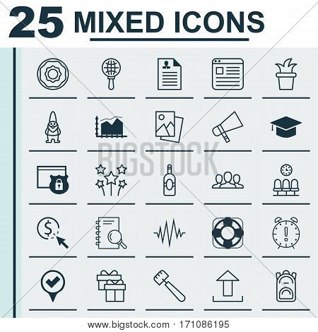 Set Of 25 Universal Editable Icons. Can Be Used For Web, Mobile And App Design. Includes Elements Such As Range Line Graph, Analysis, Dwarf And More.