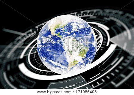 Terrestrial globe with abstract digital circle. Global business technologies concept.