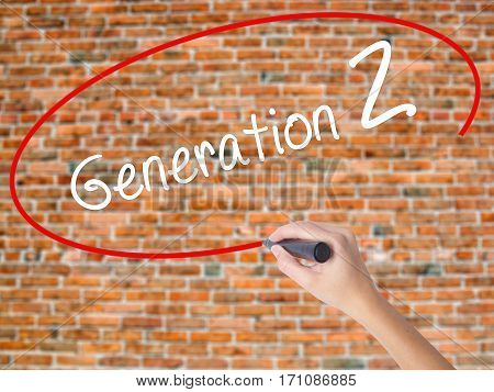 Woman Hand Writing Generation Z With Black Marker On Visual Screen
