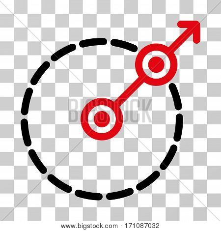 Round Area Exit icon. Vector illustration style is flat iconic bicolor symbol intensive red and black colors transparent background. Designed for web and software interfaces.