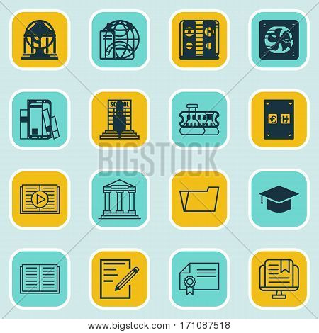 Set Of 16 Education Icons. Includes Taped Book, Haversack, Academy And Other Symbols. Beautiful Design Elements.