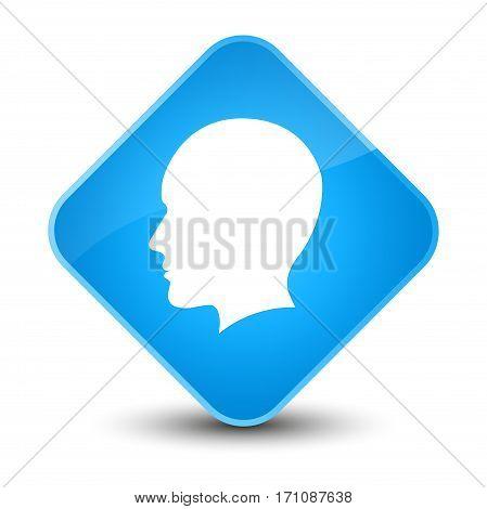 Head Men Face Icon Special Cyan Blue Diamond Button