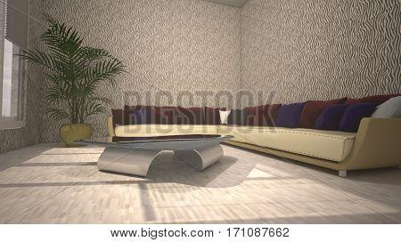 3d illustration of the living-room interior design