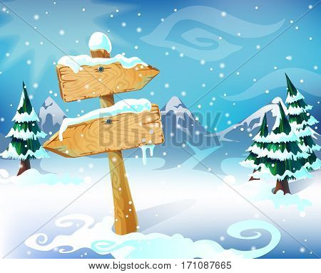 Cartoon winter landscape template with wooden blank snowbound signboard trees mountains and sky vector illustration