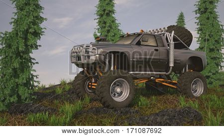 3d illustration of the general big offroad truck n a grassy hill