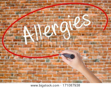 Woman Hand Writing Allergies With Black Marker On Visual Screen