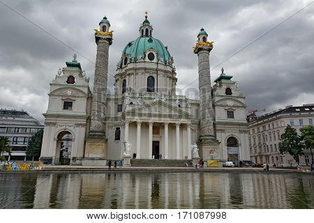 VIENNA/ AUSTRIA - OCTOBER 5. Karlskirche (St. Charles's Church) on a cloudy day on October 5, 2016 in Vienna, Austria.