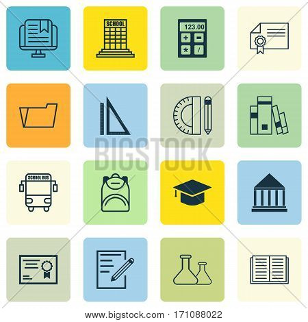 Set Of 16 Education Icons. Includes Haversack, Transport Vehicle, Certificate And Other Symbols. Beautiful Design Elements.