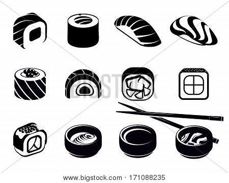 Monochrome japanese food icons set with sushi chopsticks and bowls with wasabi soy isolated vector illustration