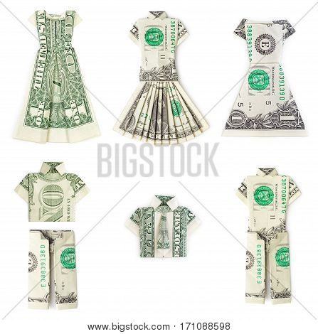 Dollar origami clothes isolated on white background