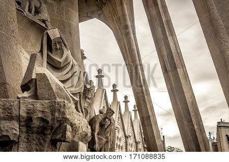 statue in sagrda familia barcelona spain winter