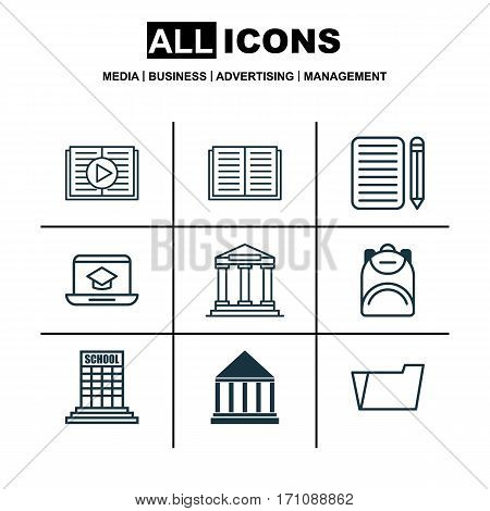 Set Of 9 School Icons. Includes Home Work, Document Case, Academy And Other Symbols. Beautiful Design Elements.