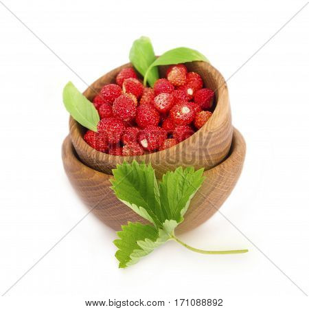 Wild small strawberries in a wooden bowl with leaves. Ripe and tasty strawberries isolated on white background. Sweet and juicy berry with copy space for text.