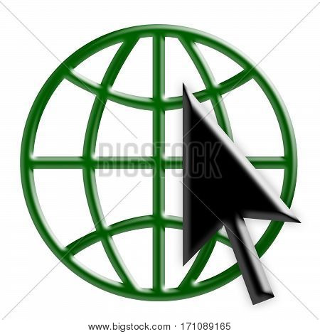Green 3d Internet Globe Icon With Black Arrow Cursor World Wide Web Symbol 3d Illustration Isolated On White Background