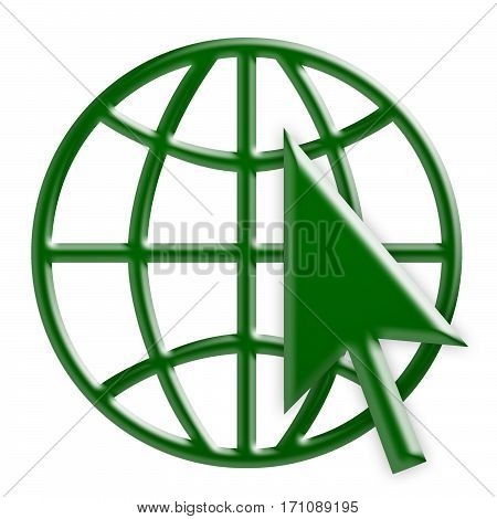 Green 3d Internet Globe Icon With Green Arrow Cursor World Wide Web Symbol 3d Illustration Isolated On White Background