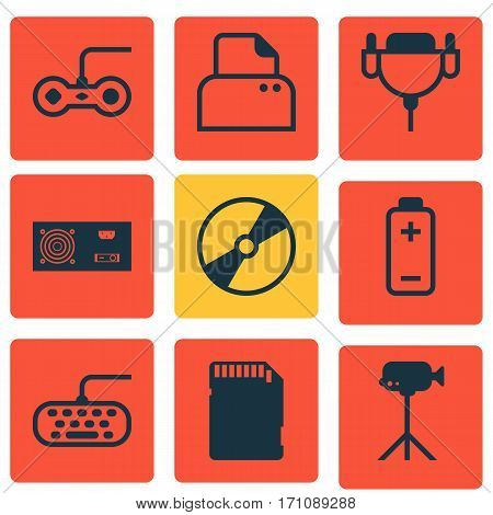 Set Of 9 Computer Hardware Icons. Includes Computer Keypad, File Scanner, Vga Cord And Other Symbols. Beautiful Design Elements.