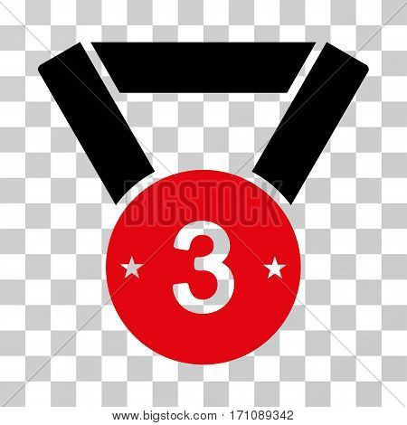 Third Medal icon. Vector illustration style is flat iconic bicolor symbol intensive red and black colors transparent background. Designed for web and software interfaces.