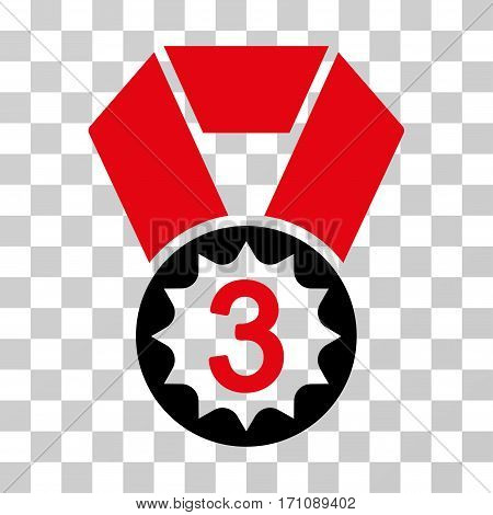 Third Place icon. Vector illustration style is flat iconic bicolor symbol intensive red and black colors transparent background. Designed for web and software interfaces.