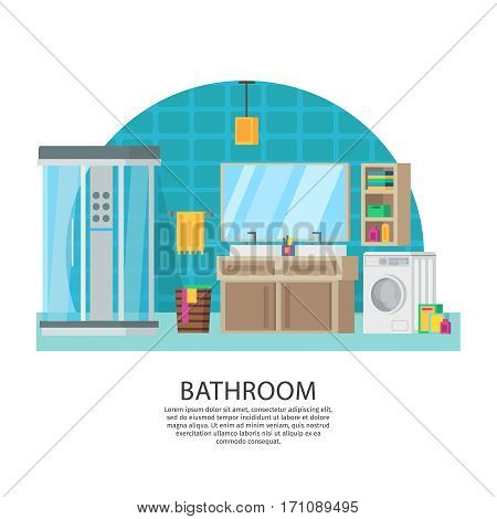 Bathroom interior design composition with shower cabinet sink washing machine mirror shelf and hygiene accessories vector illustration