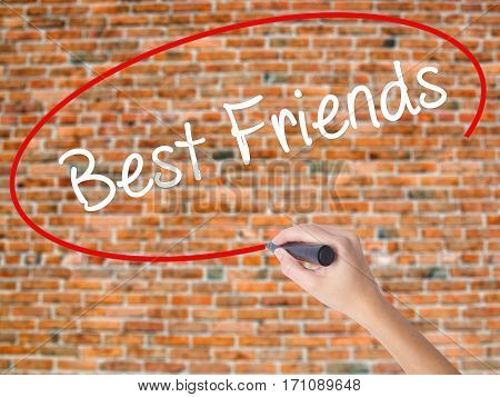 Woman Hand Writing Best Friends With Black Marker On Visual Screen