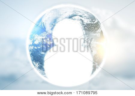 Close up of abstract terrestrial globe with human icon. HR concept.