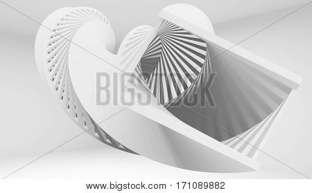 Abstract twisted helix object 3 d illustration