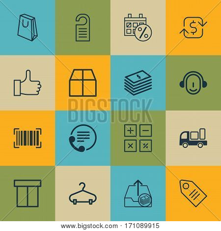 Set Of 16 Ecommerce Icons. Includes Ticket, Outgoing Earnings, Dollar Banknote And Other Symbols. Beautiful Design Elements.